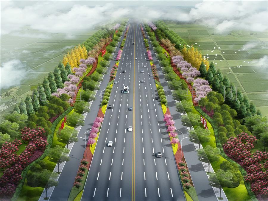 道路标准段方案3D效果图
