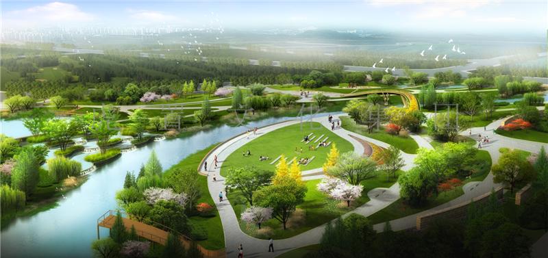湿地花园鸟瞰3D效果图