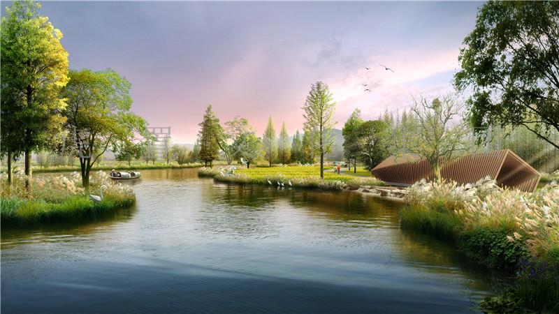 湿地公园湖景3D效果图