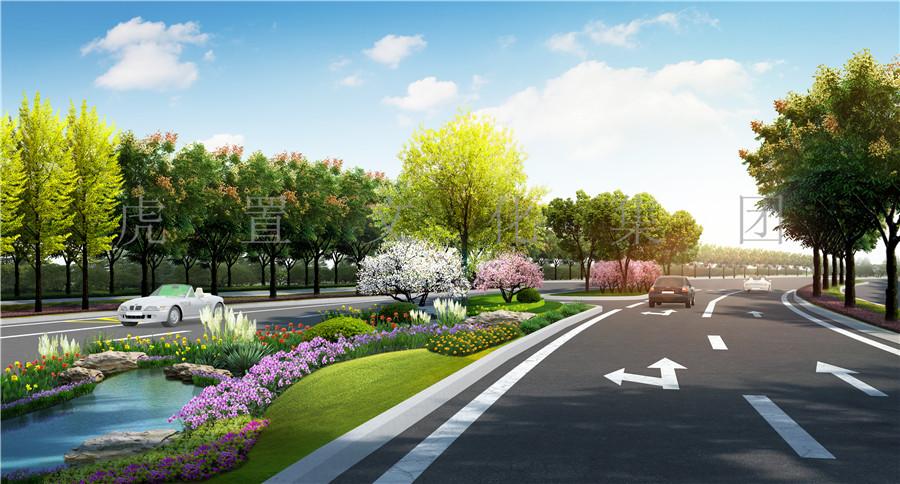 道路方案透视3D效果图